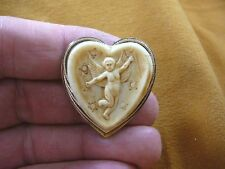 cs84-5) CHERUB Cupid ivory heart CAMEO brass brooch Pin Pendant Jewelry NECKLACE
