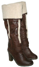 LADIES BROWN KNEE BOOT WITH SIDE ZIP AND FUR TRIM WITH FUR COLLAR SIZES 3-8