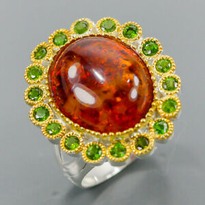 Vintage jewelry Art Amber Ring Silver 925 Sterling  Size 8.5 /R164151