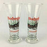 Vintage 1989 Budweiser King of Beers Clydesdales Set of 2 Beer Pilsner Glasses