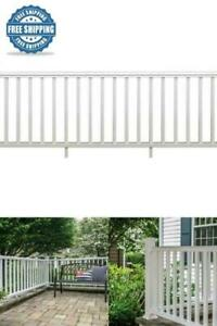 Traditional White Rail Kit Durable 8ft x 36in Exterior Decor Outdoor Porch Deck