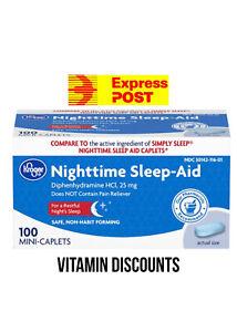 Sominex, KROGER Night time Sleep Aid   25 mgs 100 Caplets VALUE 100 Caps