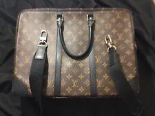 Authentic Louis Vuitton Porte Documents Voyage Monogram Macassar Briefcase Bag