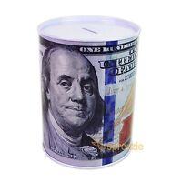 "$100 Dollar Bill Piggy Bank Coin Money Saving Tin Can Benjamin Franklin 6.5"""