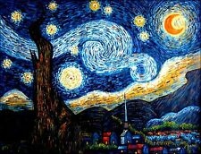 Vincent Van Gogh Starry Night Repro, Quality Hand Painted Oil Painting, 36x48in