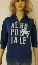 Aeropostale Hoodie Jacket Women's Size Medium Sweater Full Zip Up Blue Palm Tree