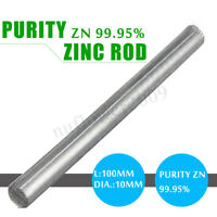 0.4''x 4'' High Purity Zn 99.95% Zinc Rods Anode Electroplating Solid Round Bar