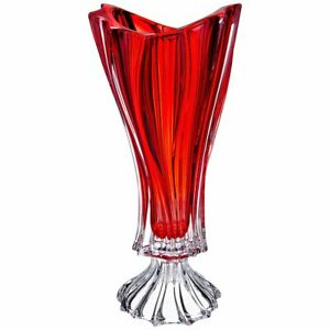 """Crystal Glass Footed Vase 16 """" Centerpiece Red Flower Bohemian Crystal Bud Vase"""