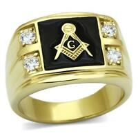 Mens masonic gold ring onyx black signet pinky cz cubic zirconia 18kt new 719