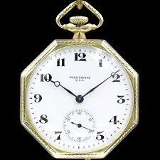 14k Gold 1919 WALTHAM 17 Jewel Mechanical Pocket Watch 12s Octagon Case NICE!!