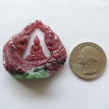 beautiful new Budda naga protect ruby zoisite gemstone handy carved statue 100%
