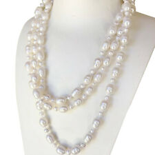 Nice 8-9.5x11-12mm & 5-6mm baroque white freshwater pearl necklace 150cm length