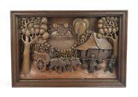 Rare Vintage Large Traditional Thai Teak Wood Village Scene Painted Wood Carving