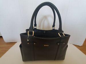 NWT! $198 DKNY Kary Medium Leather Shopper Tote Black Authentic