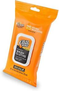 Dead Down Wind Field Wash Cloths 25 Pre-Moistened Towels With Snap Lid Closure