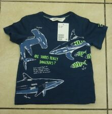 H&M Kids Childrens Printed Sharks T Shirt Size 1.5-2 Years BNWT RRP £9.98 Blue
