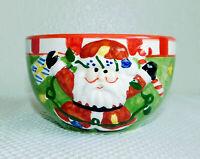 "Santa Claus 5"" Ceramic Bowl Green Red Christmas Holiday Hand Painted"