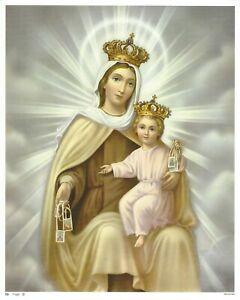 "Catholic Print Our Lady of Mount Carmel & Child Jesus with Scapular 8x10"""