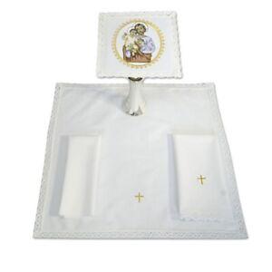 Altar Linen Set, Pall Corporal Purificator Lavabo 100% cotton, St. Joseph