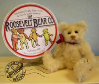 "Artist Teddy ROOSEVELT BEAR Co cream mohair 6"" miniature Cathy Peterson handmade"