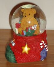 Christmas Teddy Bear in Stocking Musical Waterglobe San Francisco Music Box
