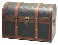 New Wooden Leather Round Top Treasure Chest, Decorative storage Trunk, QI003314