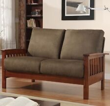 Loveseat Mission Style Olive Green Oak Microfiber Living Room Furniture Wood NEW