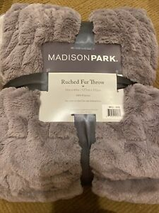 """Madison Park Ruched Fur Luxury Throw Lavender, Purple 50""""x60"""" Brushed Fur NEW"""