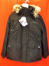 NEW PAJAR CANADA BLACK NYLON COYOTE FUR HOODIE JAMES GOOSE DOWN JACKET L