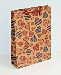 Large Heart Design Cardboard Gift Bags 33 x 24cm * Choice of Quantities