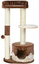 Cat Tree 19.5 in. W x 14.5 in. D x 39.25 in. H Brown/Beige Finish with Plush Toy