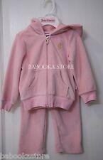 Juicy Couture Kid Girl 2 pc Velour Jacket Pants Jogging Tracksuit Set Pink 6-12m