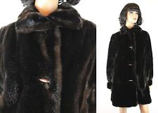Faux Fur Coat M Vintage Dark Brown Glossy Mink Tissavel Hillmoor Winter Jacket
