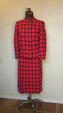 VINTAGE 70s 80s DAVIDOW WOVEN WOOL CHECK DRESS SUIT CC BUTTONS M