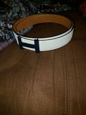 hermes authentic belt kit size 95 white/ tan belt H blue enamel 32mm receipt