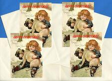 PUG AND GIRL PACK OF 4 CARDS DOG PRINT GREETING CHRISTMAS CARDS