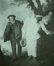 Gilles,Scaramouche,Scapin & Harlequin, Watteau, Magic Lantern Glass Slide