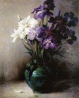Art Oil painting John Ferguson Weir - Japanese Iris flowers in vase landscape