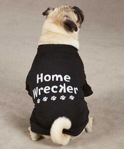 Home Wrecker Dog T-Shirt Tee Black NEW Casual Canine Top Pet  XXS - XL