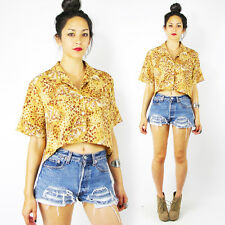 Vtg 80s 90s Grunge Leopard Print High Low Hi Lo Oversized Shirt Crop Top S M