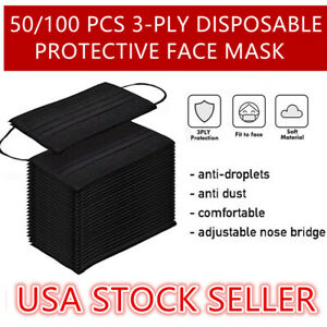 50/100 Pcs Black 3-Ply Face Mask Disposable Non Medical Surgical Cover