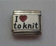 9mm Classic Size Italian  Charms Laser  L15  Red Heart  Knitting  I Love to Knit