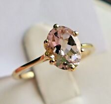 Genuine Morganite 10K Yellow Gold Ring, Size 7, 1.20Ct, Solitaire, Certificate