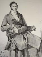 A.X LEPRINCE (1799-1826) RARE LITHO ORIGINALE AUTO PORTRAIT ? PEINTRE HOMME 1821