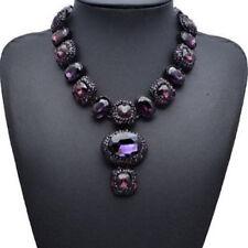 Lila Glas Strass Kette Statementkette Halskette Collier Modeschmuck schwarz neu