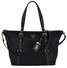 550f3ce43390 PRADA 1BG253 Black Tessuto Nylon Large Zip Top 2-way Purse SHOPPER Handbag