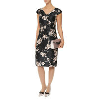 New Jacques Vert dress 14 16 18 Black Beige Taupe Floral Exclusive Print shift