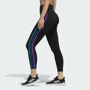 NEW Adidas Pride Believe This 2.0 3-Stripes 7/8 Tights - Black - Large