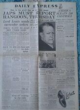 VINTAGE EXPRESS NEWSPAPER WW2-AUG 21st 1945-Lord Louis sends surrender orders.