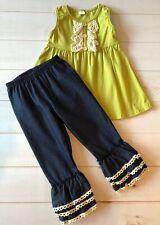 Girls Chartreuse & Ivory Ruffled Button Swing Top + Denim Ruffle Bottoms, NEW 2T